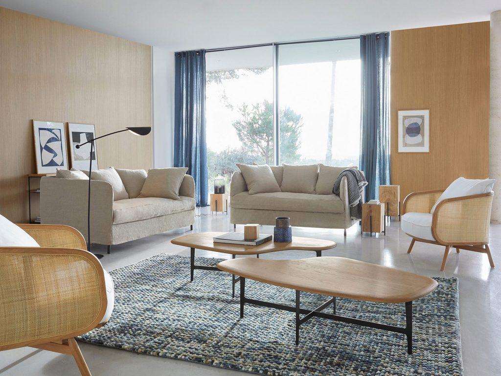salon moderne bois blanc bleu