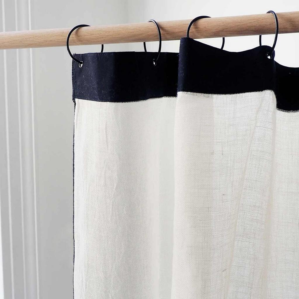 rideau en lin noir et blanc