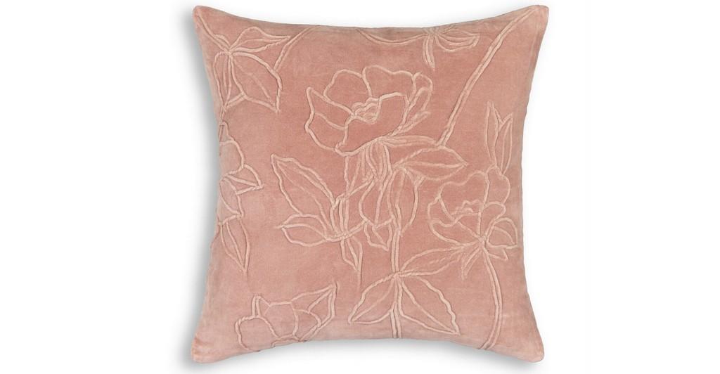 coussin velours rose fleurs