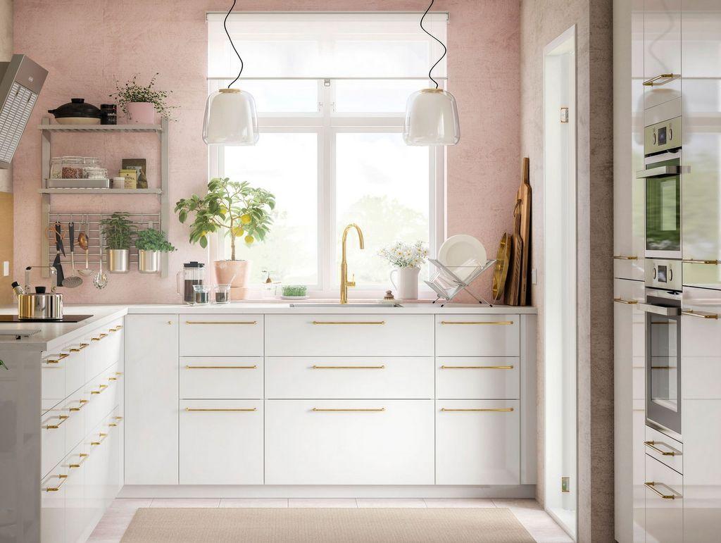 cuisine mur rose poudré