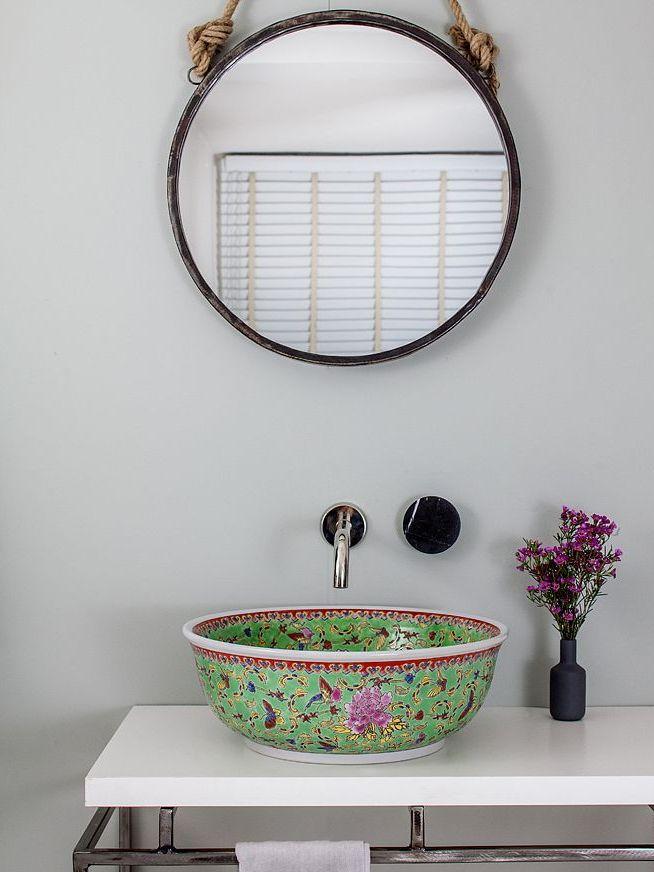 vasque verte salle de bain