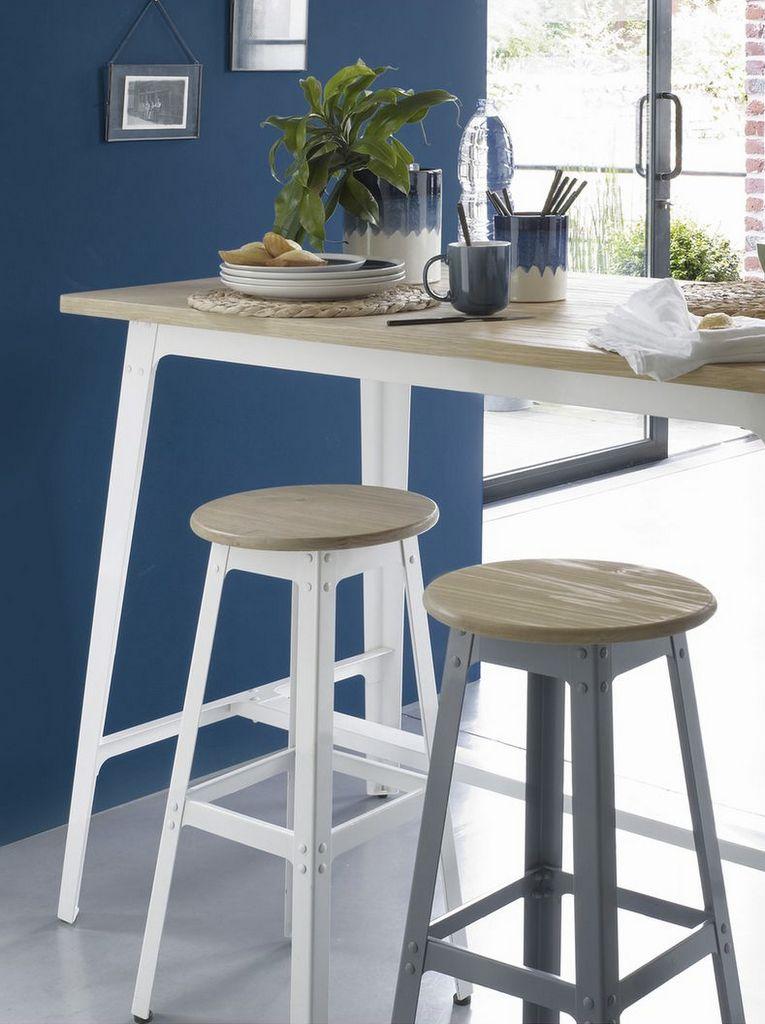 table haute bois et blanc