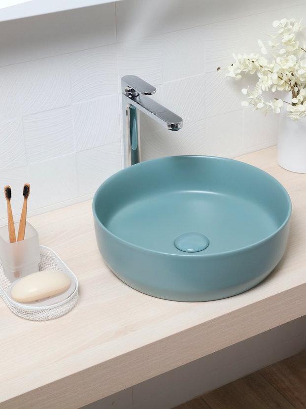 vasque bleu vert salle de bain