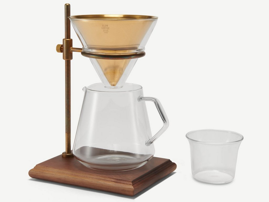 cafetière filtre bois et laiton