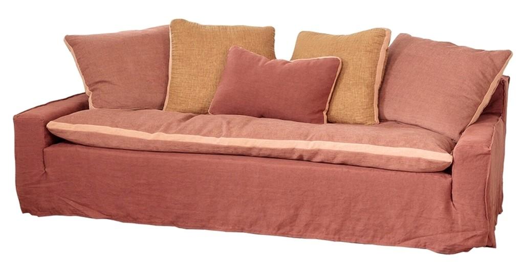 canapé rose et terracotta
