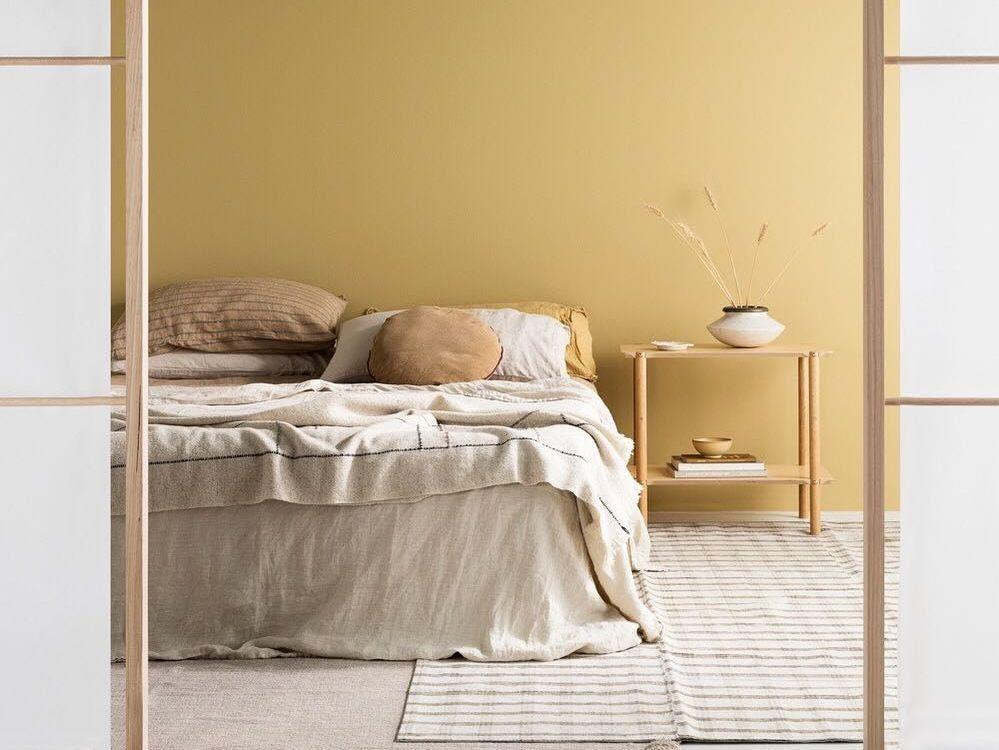 chambre jaune clair et beige
