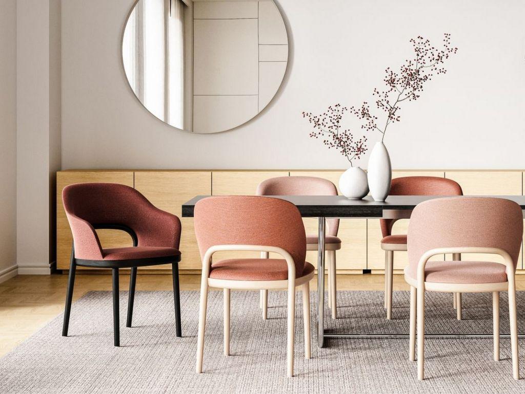 salle à manger terracotta et rose