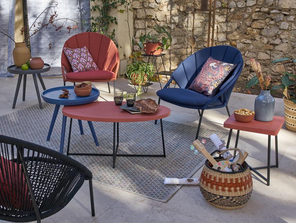 salon de jardin bleu et terracotta