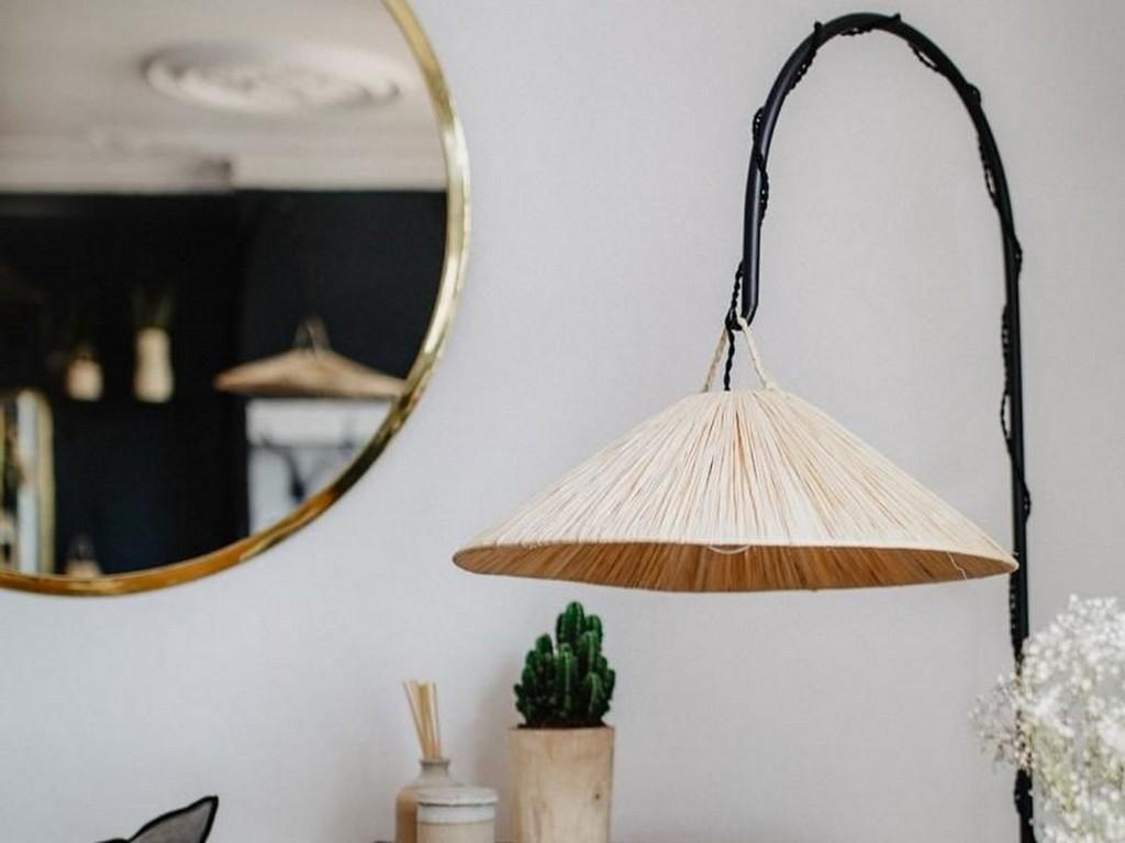 lampe potence raphia