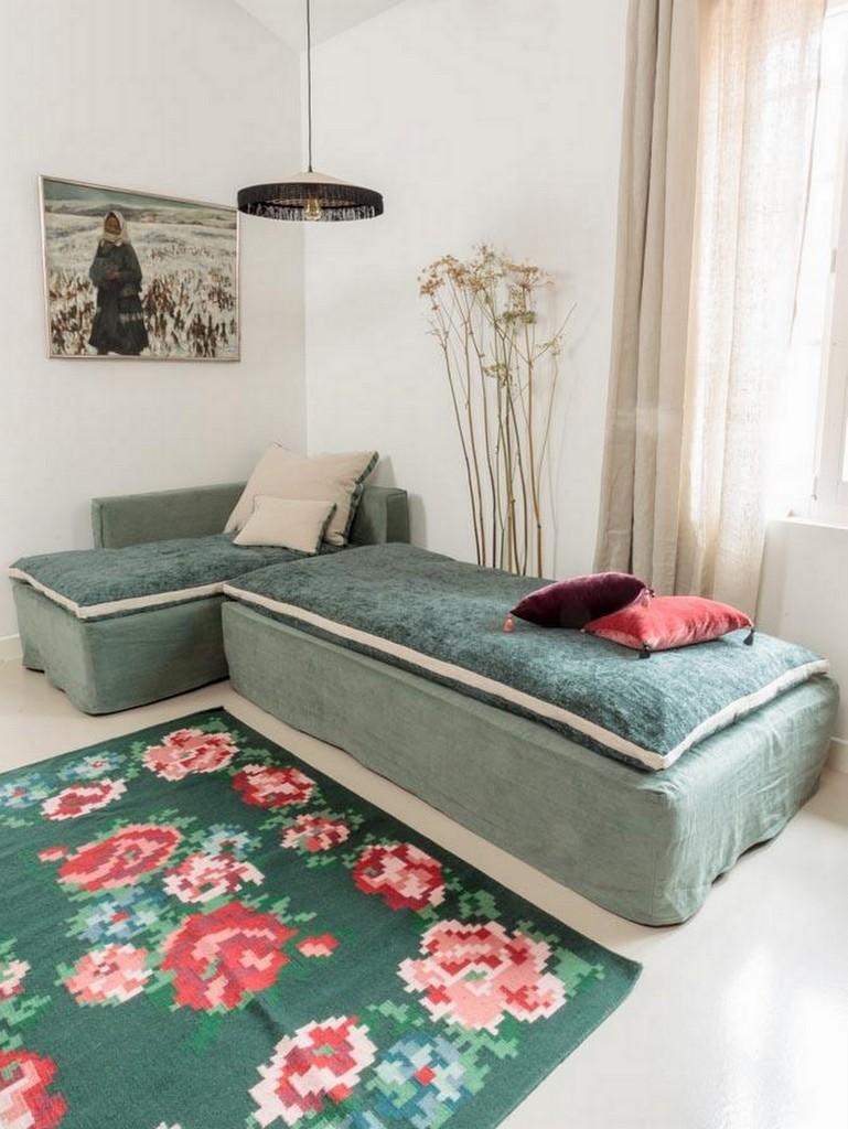tapis motif fleurs