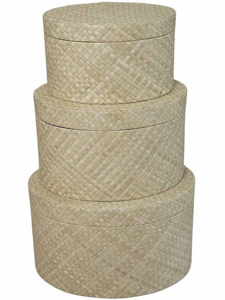 boites rondes en fibres tressées