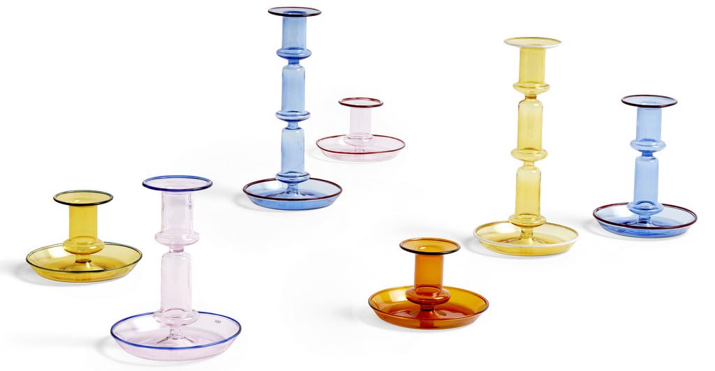 bougeoir en verre coloré