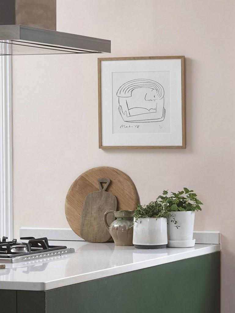 cuisine mur rose