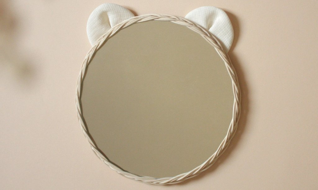miroir ours en rotin