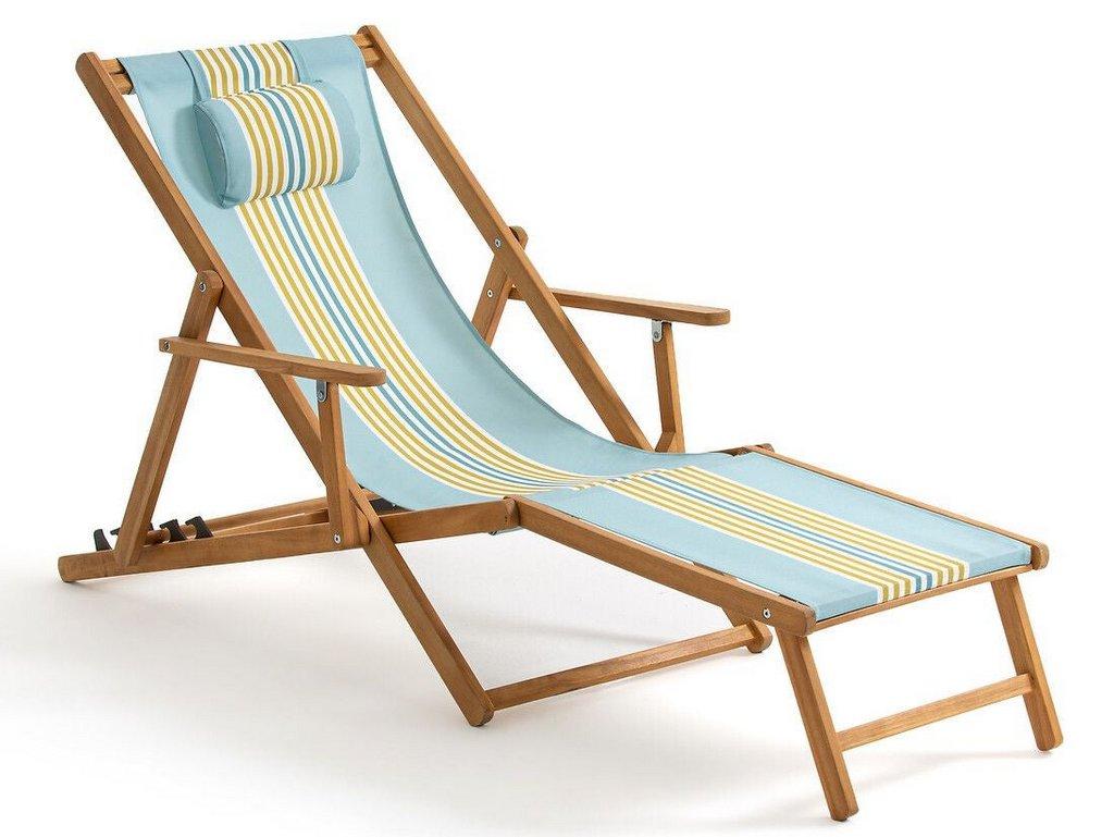 transat chaise longue bleu jaune