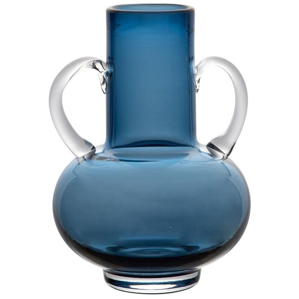 vase à anse en verre bleu