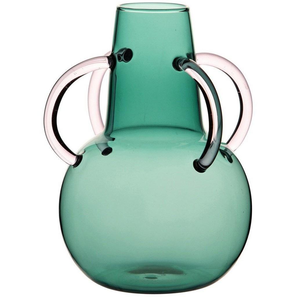 vase à anse en verre vert