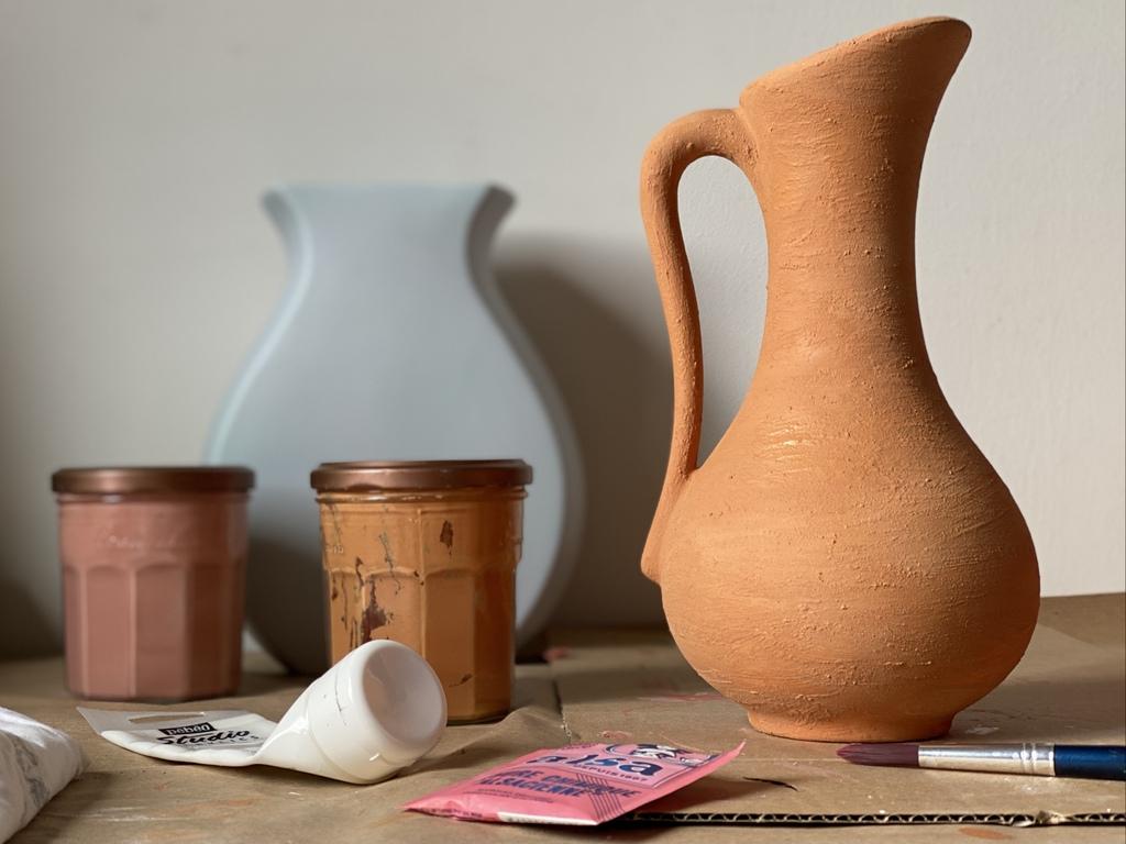 DIY vase terracotta peint