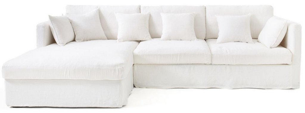 canapé d'angle en lin blanc