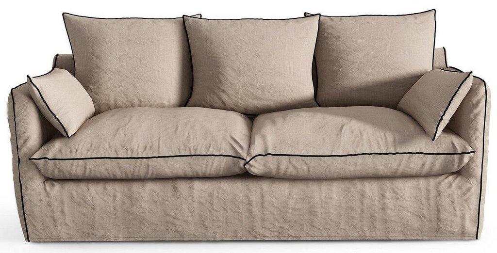 canapé en lin beige passepoil noir