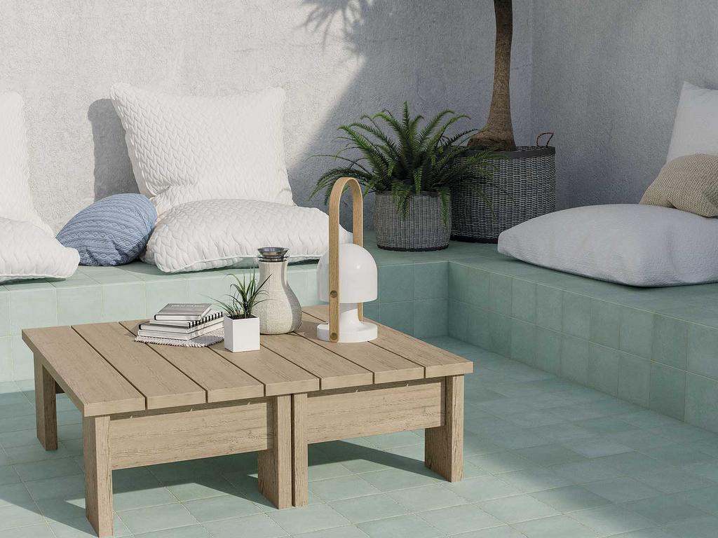 terrasse carrelage vert d'eau et bois