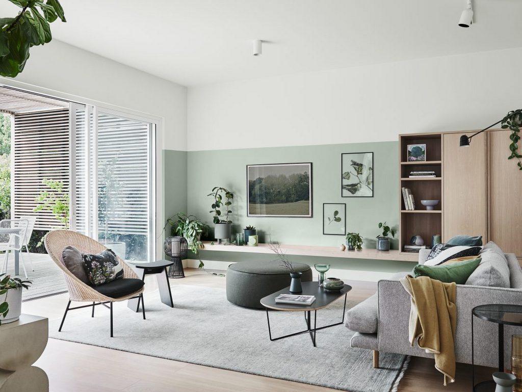 déco vert d'eau et bois clair salon