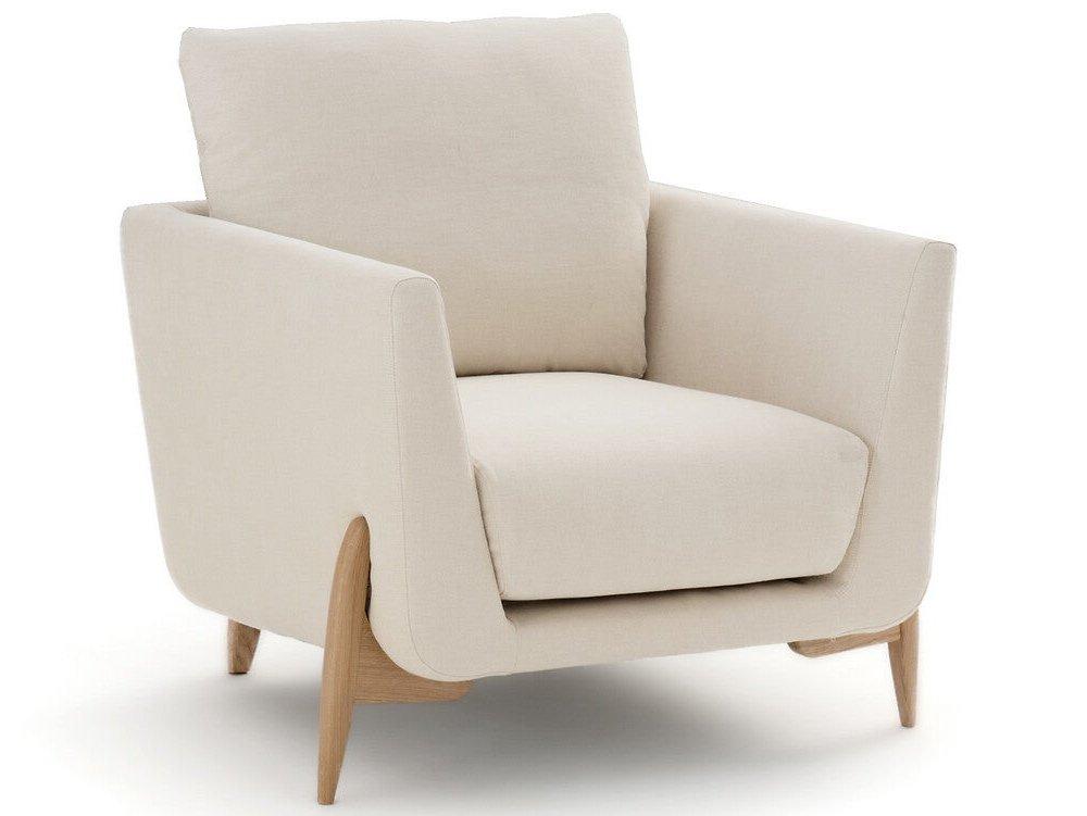 fauteuil design écru et bois