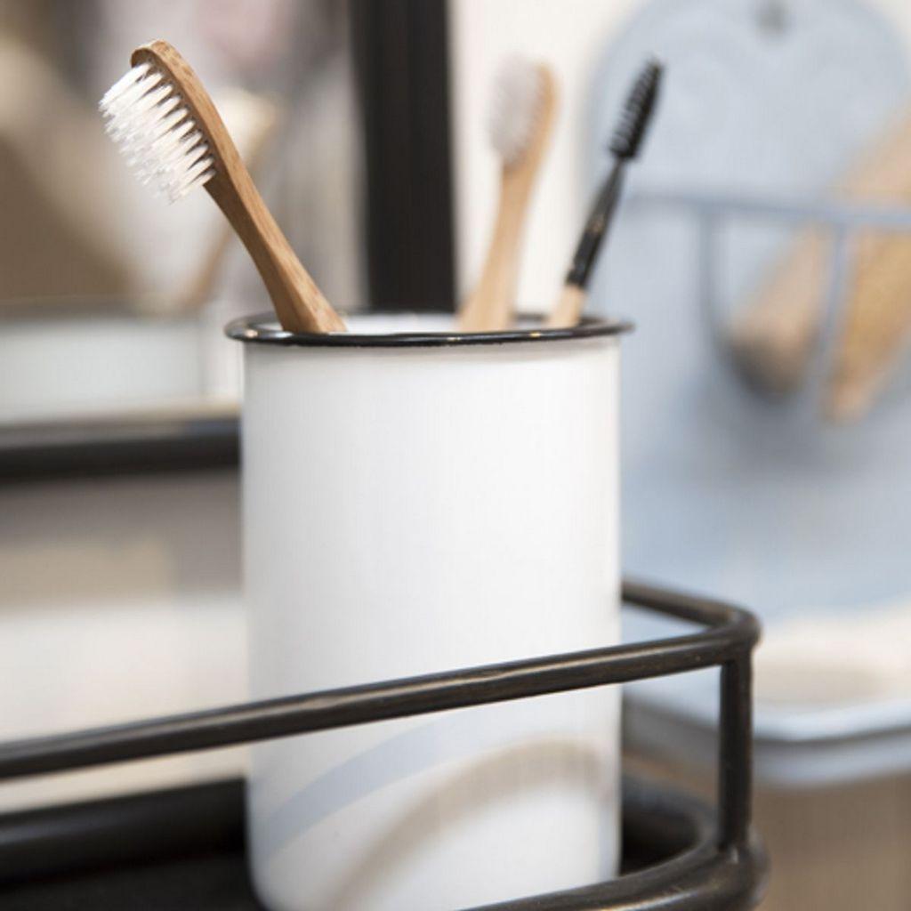 gobelet brosse à dent en métal émaillé
