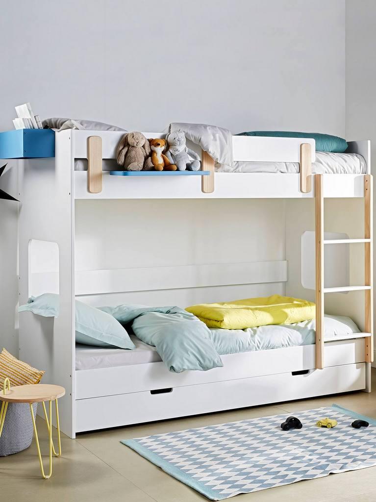 lit superposé blanc et bois