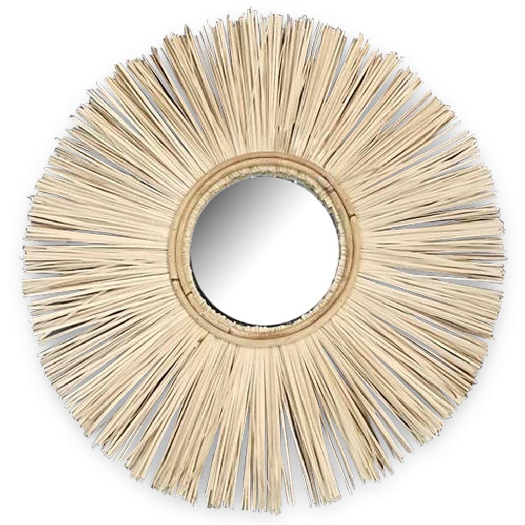 miroir rond en raphia