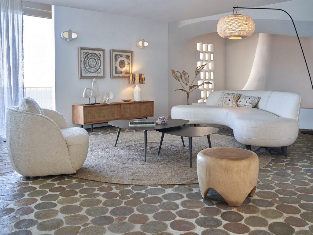 salon moderne blanc et bois