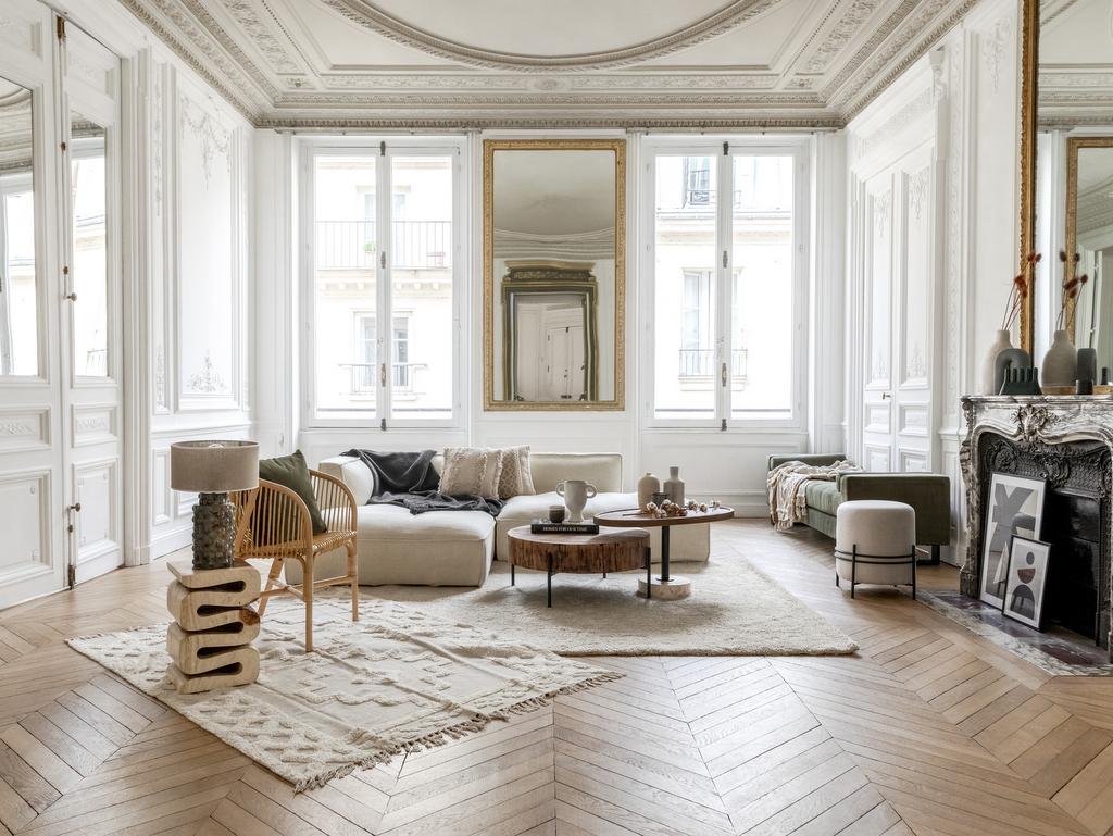 salon design blanc et bois