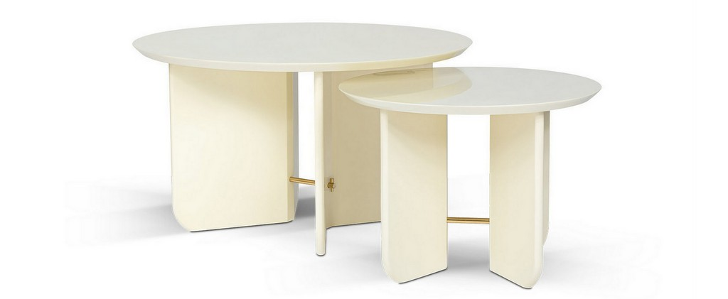 table basse ronde laque blanche