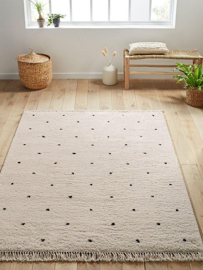tapis berbère blanc pois noirs