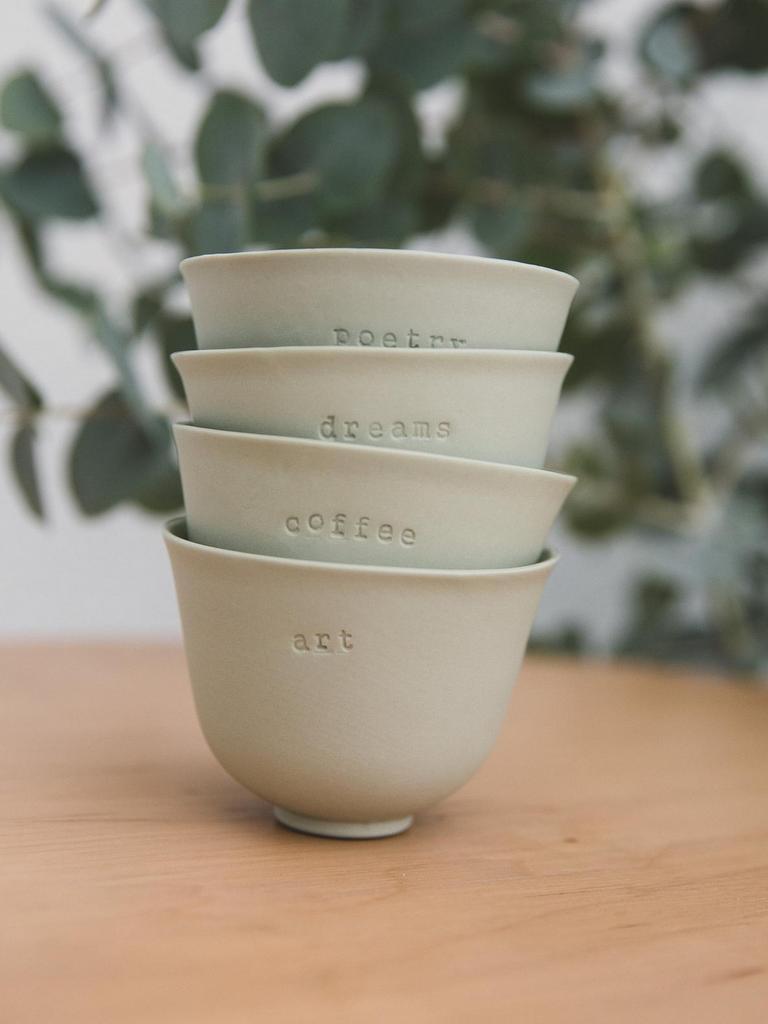 tasses à café vert sauge