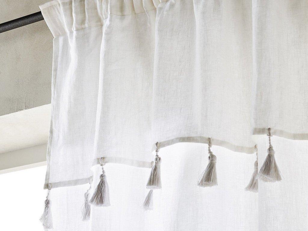 voilage en lin blanc à pompons