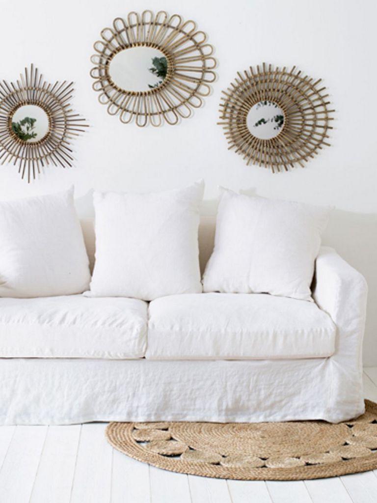 canapé en lin froissé blanc