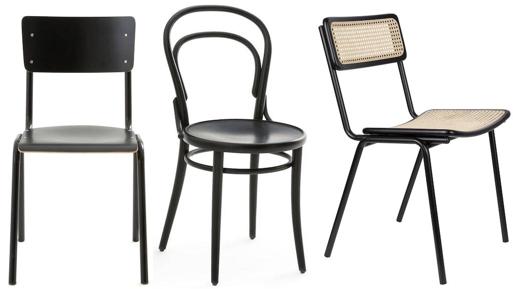 chaises dépareillées noires