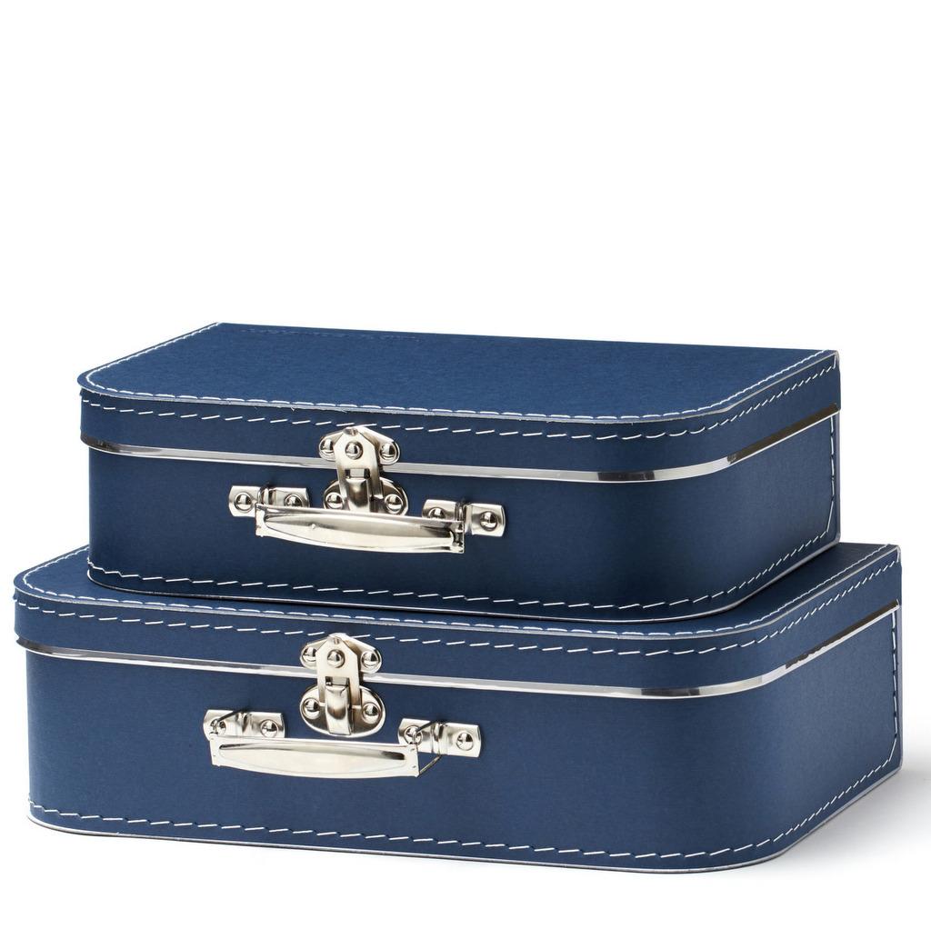 valise en carton bleu marine