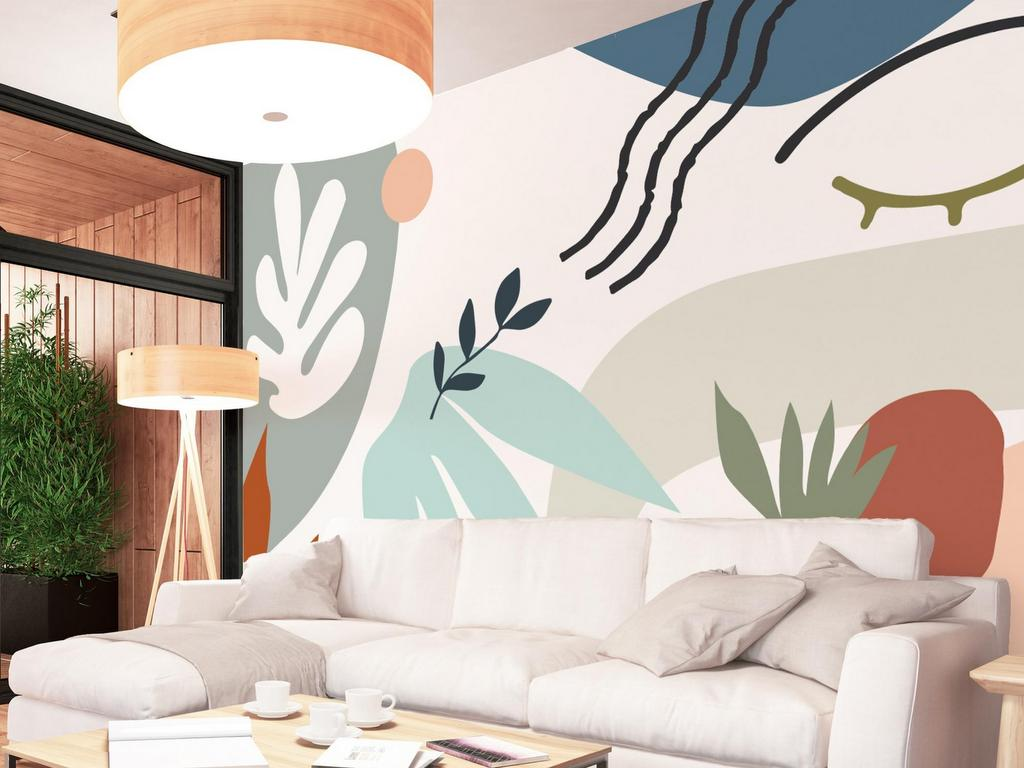 papier peint style collage matisse