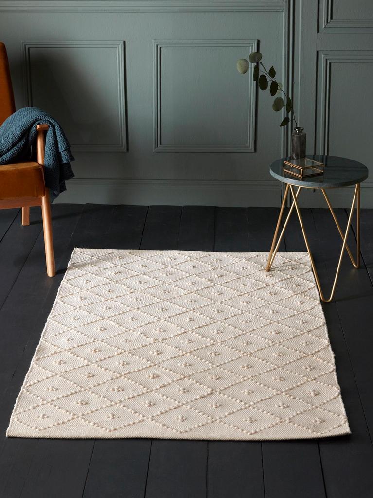 tapis en trapilho blanc