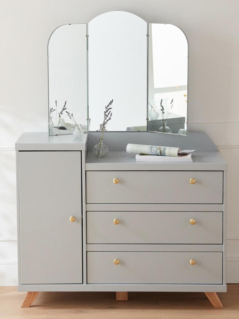 commode grise avec miroir