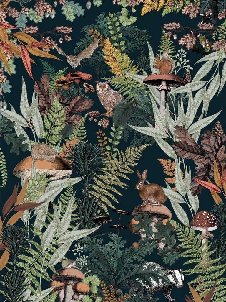 papier panoramique animaux de la forêt