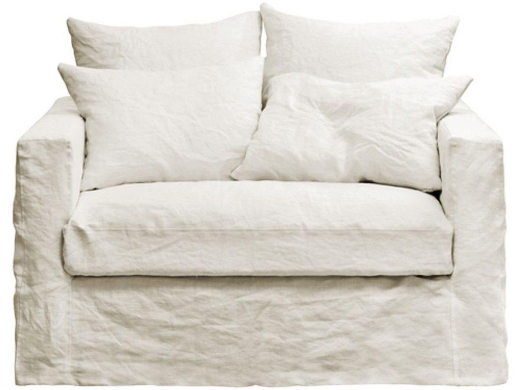 fauteuil xl en lin lavé blanc
