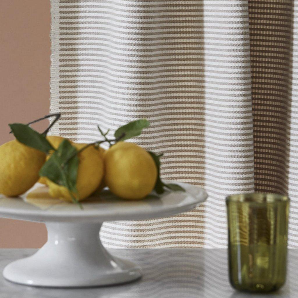rideau rayé beige et blanc