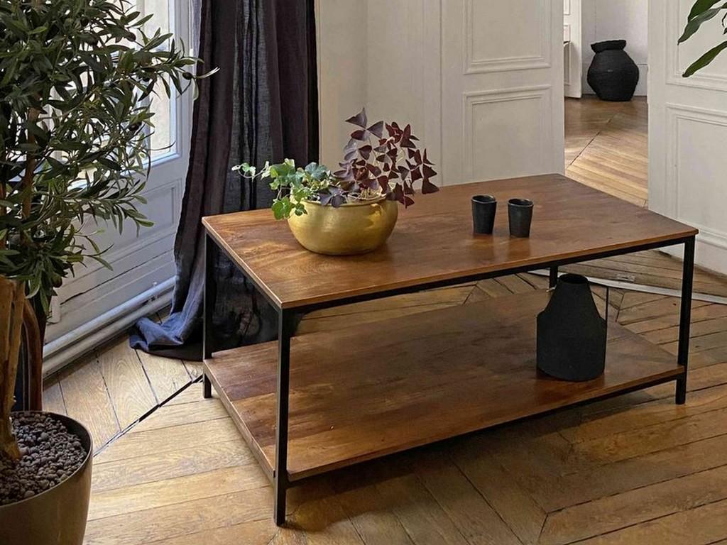 table basse double plateau noir et bois