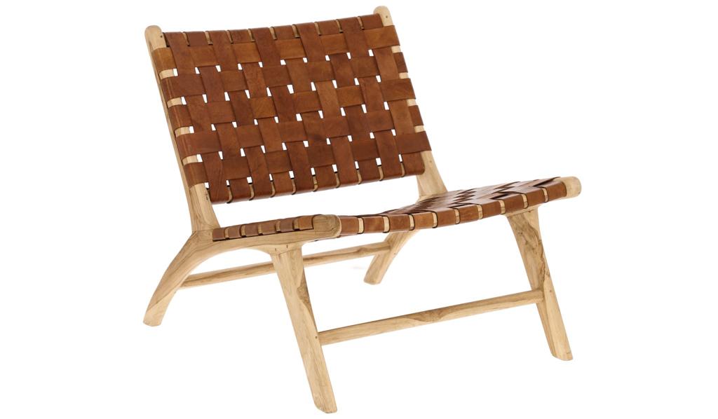 fauteuil cuir et bois