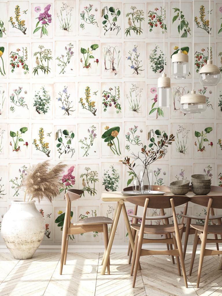 papier peint panoramique herbier