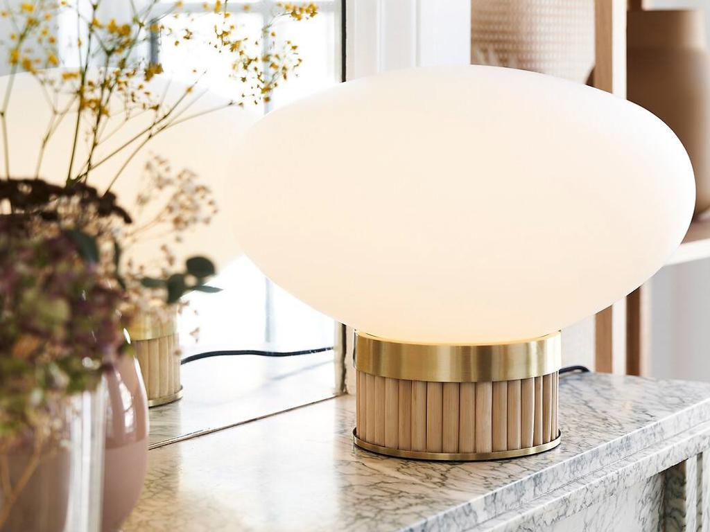 lampe baguette bambou et opaline